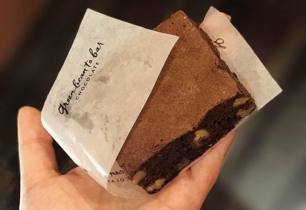グリーンビーントゥバーチョコレートのブラウニー