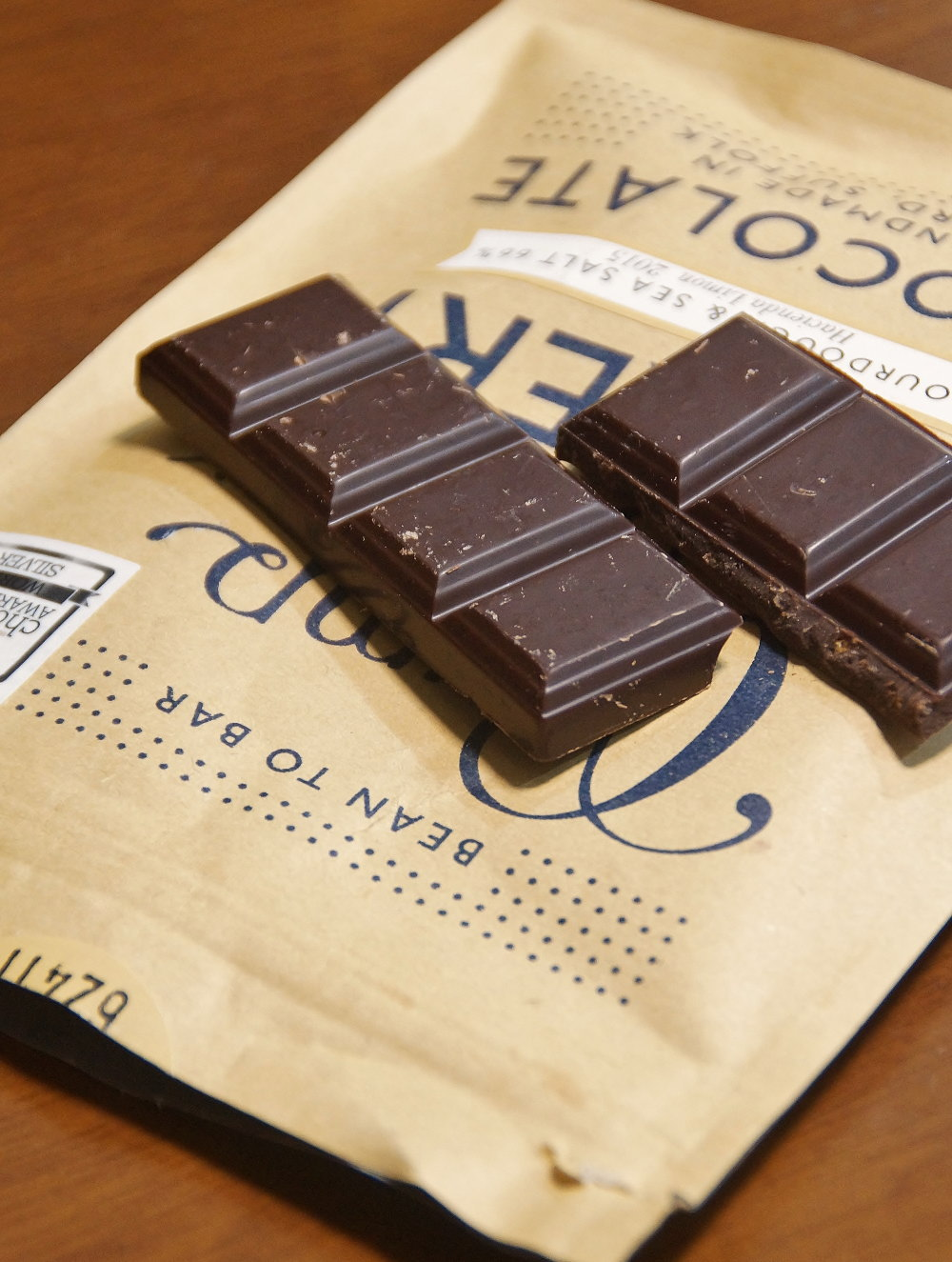 パン粉入りチョコレート 断面