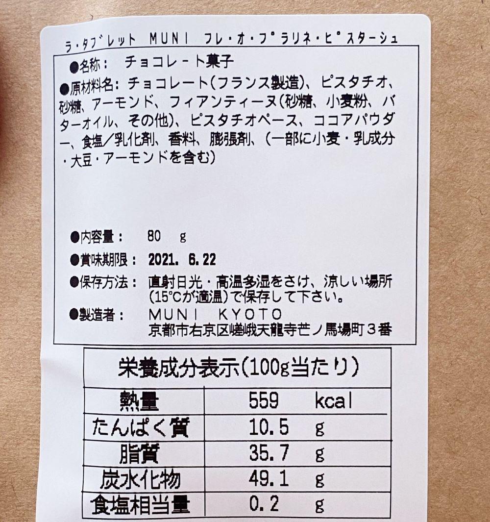 muni-kyoto チョコレート 原材料名とカロリー