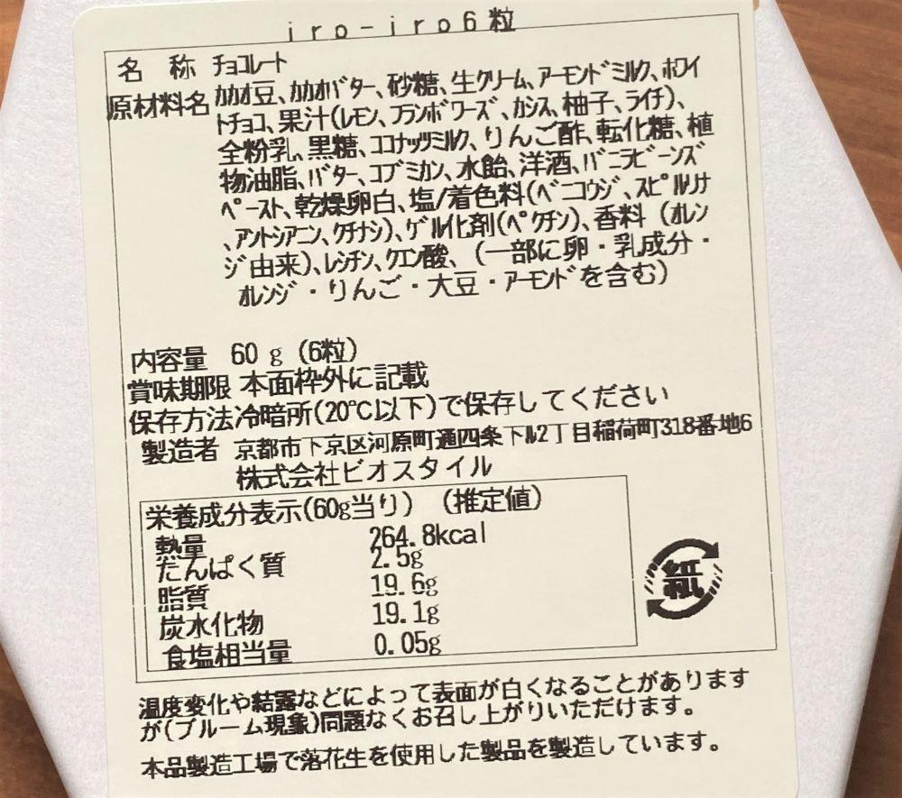 RAU京都 ボンボンショコラ 原材料名とカロリー