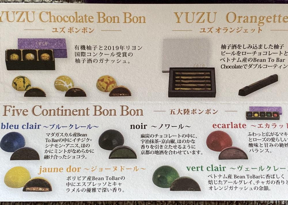 COCO KYOTOのボンボンショコラ 五大陸