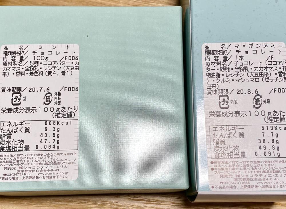 ショコラティエ・エリカ 原材料名
