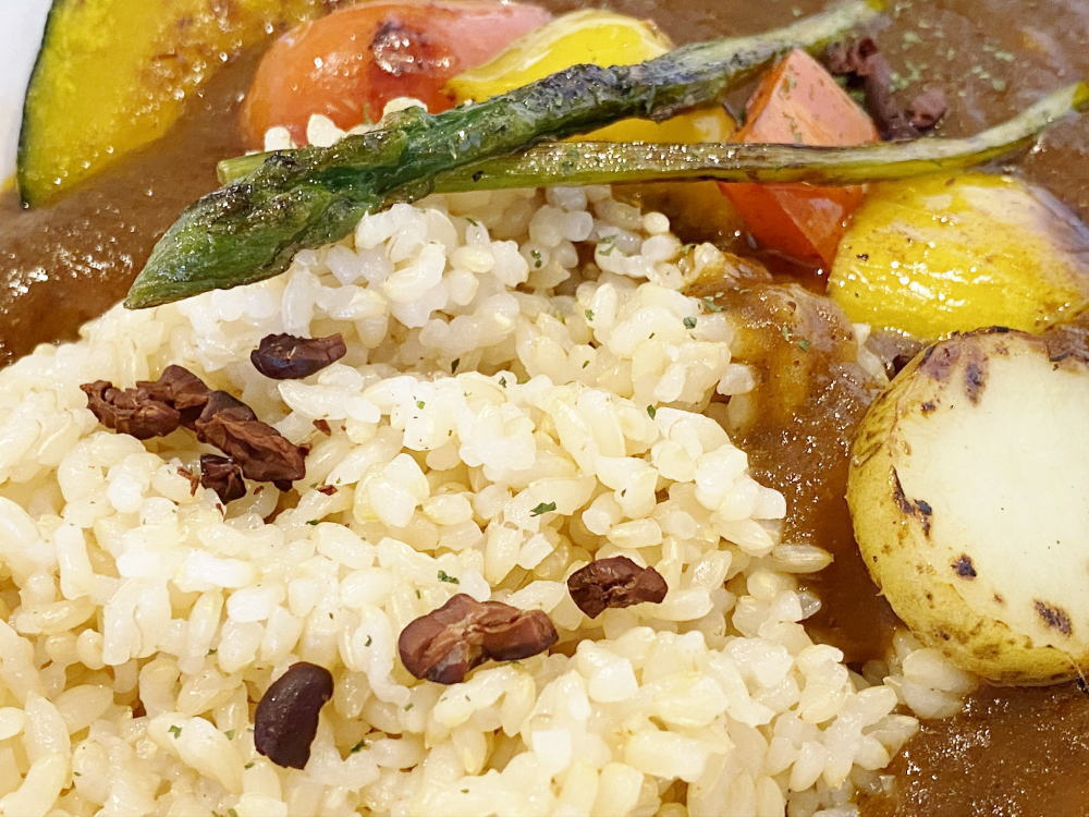 ジャラクの玄米カカオカレーに乗っているカカオニブ