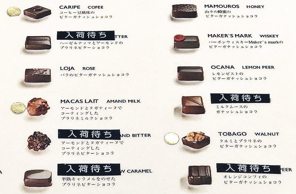 ジャンシャルルロシューのボンボンショコラの種類